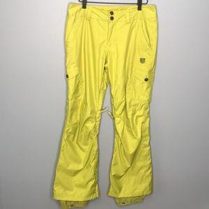 Burton neon yellow snowboarding pants sz Small